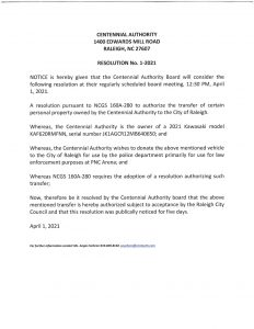 Centennial Authority notice to consider a resolution
